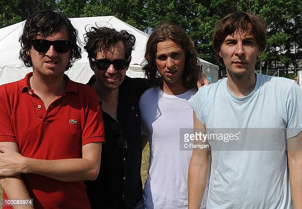 Christian Mazzalai Laurent Brancowitz Deck D'Arcy and Thomas Mars of Phoenix attend Day 4 of the Bonnaroo Music and Arts Festival at the Bonnaroo...