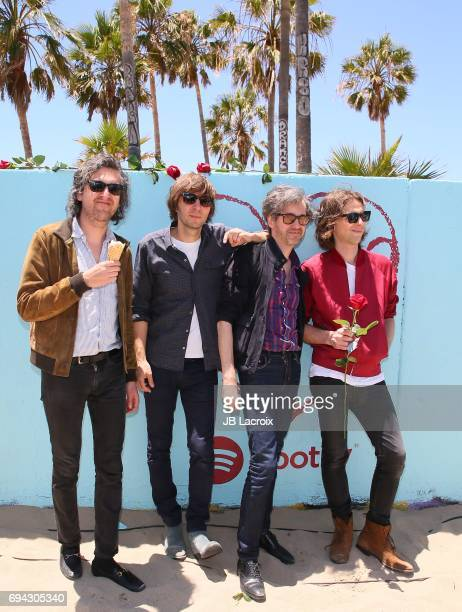Christian Mazzalai Thomas Mars Laurent Brancowitz and Deck D'arcy of Phoenix celebrate the release of their new album 'Ti Amo' on June 09 2017 in...