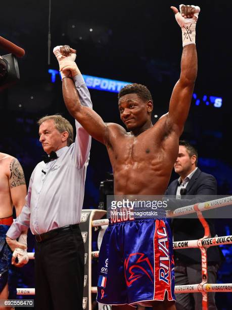 Christian Mbilli celebrates his victory against Cesar Ugarte during the middleweight match at the Bell Centre on June 3 2017 in Montreal Quebec...