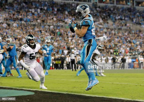 Christian McCaffrey of the Carolina Panthers catches a touchdown pass against the Philadelphia Eagles in the fourth quarter during their game at Bank...