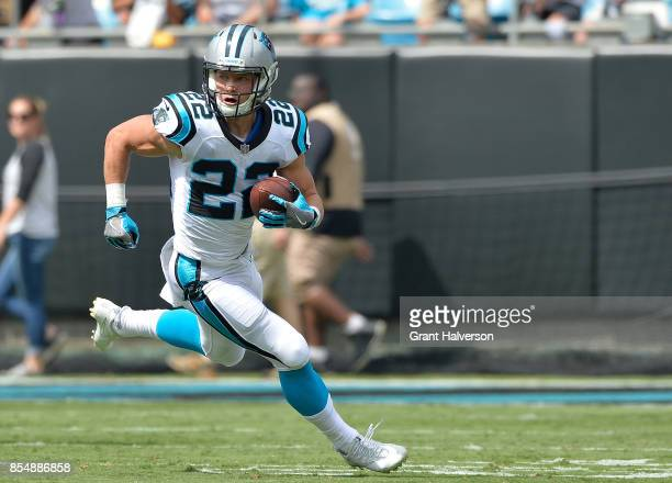 Christian McCaffrey of the Carolina Panthers runs against the New Orleans Saints during their game at Bank of America Stadium on September 24 2017 in...