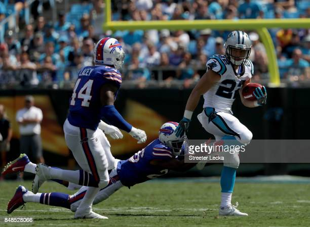 Christian McCaffrey of the Carolina Panthers runs the ball against the Buffalo Bills during their game at Bank of America Stadium on September 17...