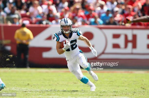 Christian McCaffrey of the Carolina Panthers runs with the ball against the San Francisco 49ers at Levi's Stadium on September 10 2017 in Santa Clara...