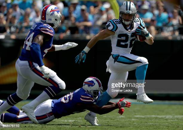 Christian McCaffrey of the Carolina Panthers rushes the ball against the Buffalo Bills during their game at Bank of America Stadium on September 17...