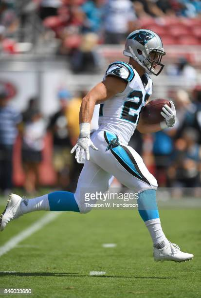Christian McCaffrey of the Carolina Panthers warms up during pregame warm ups prior to playing the San Francisco 49ers at Levi's Stadium on September...