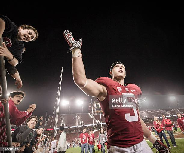 Christian McCaffrey of the Stanford Cardinal leaves the field after a PAC12 football game against the UCLA Bruins on October 15 2015 at Stanford...