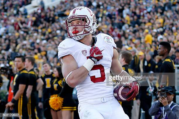 Christian McCaffrey of the Stanford Cardinal reacts after a run in the 102nd Rose Bowl Game against the Iowa Hawkeyes on January 1 2016 at the Rose...