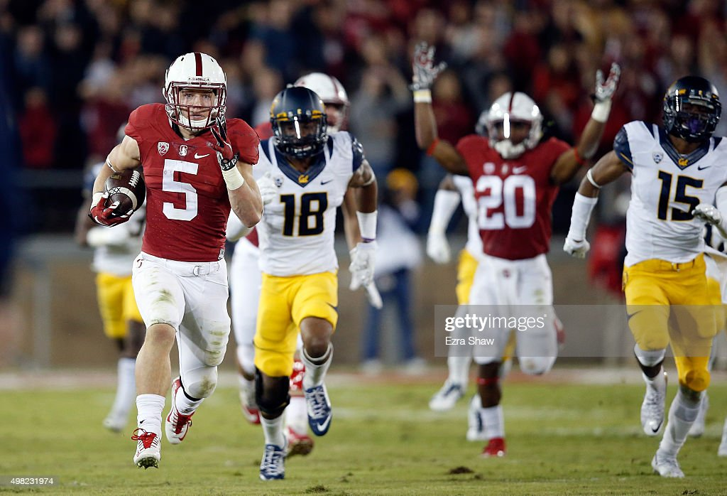Christian McCaffrey of the Stanford Cardinal returns a kickoff 96 yards for a touchdown against the California Golden Bears at Stanford Stadium on...