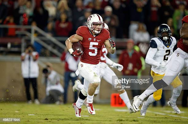 Christian McCaffrey of the Stanford Cardinal runs a caught pass in for a touchdown against the California Golden Bears at Stanford Stadium on...