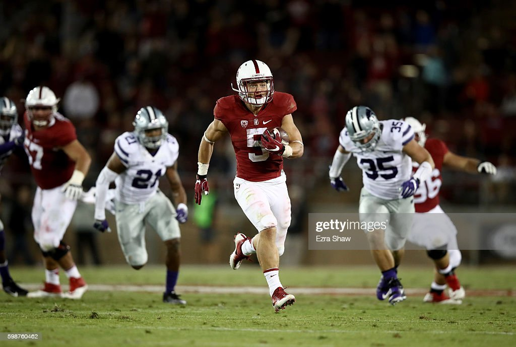 Christian McCaffrey #5 of the Stanford Cardinal runs in for a touchdown against the Kansas State Wildcats at Stanford Stadium on September 2, 2016 in Palo Alto, California.