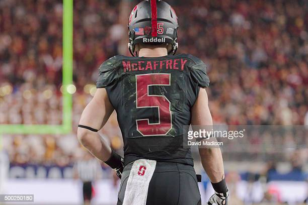 Christian McCaffrey of the Stanford Cardinal waits to return a kickoff during the Pac12 Championship Game against the USC Trojans played on December...