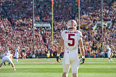 Christian McCaffrey of the Stanford Cardinal waits to return a kickoff during the 102nd Rose Bowl game between Stanford and the Iowa Hawkeyes played...