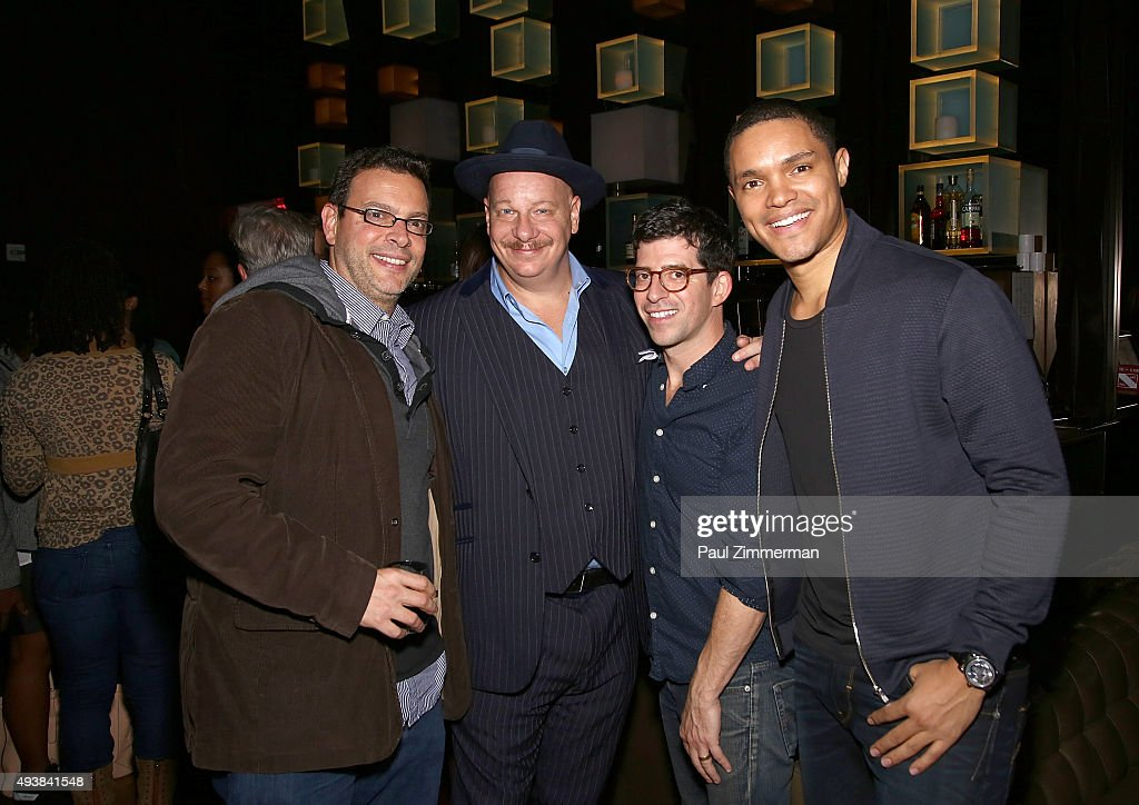 Christian McLaughlin, Jeff Ross, Stew Miller and host Trevor Noah attends Comedy Central's The Daily Show with Trevor Noah premiere party event on October 22, 2015 in New York City.