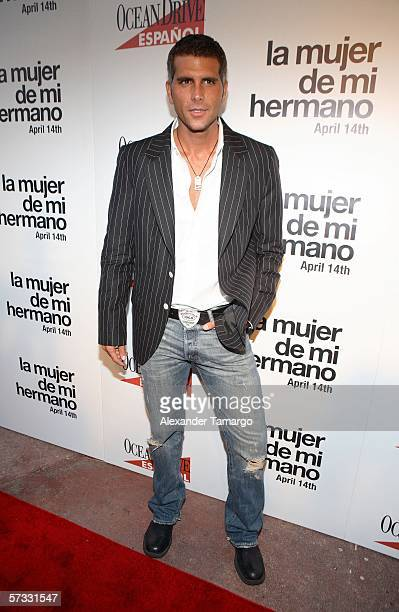 Christian Meier poses at Regal Cinemas Lincoln Road for the premiere of 'La Mujer De Mi Hermano' on April 11 2006 in Miami Beach Florida