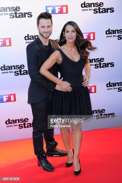 Christian Millette and Elisa Tovati attend the 'Danse Avec Les Stars 2014' Photocall at TF1 on September 10 2014 in Paris France