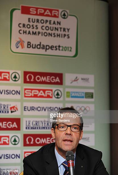 Christian Milz the General Director of European Athletics talks to the media during a press conference for the 19th SPAR European Cross Country...