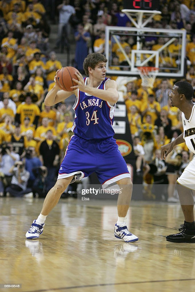 Christian Moody of the Kansas Jayhawks looks to pass the ball against the Missouri Tigers on January 162006 at Mizzou Arena in Columbia Missouri...