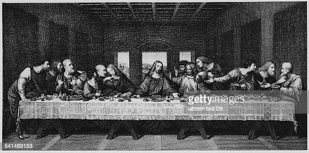 Christian motifs Copper engravings The Last Supper copper engraving after a painting by Leonardo da Vinci undated