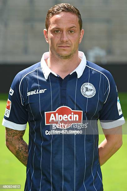 Christian Mueller poses during the Second Bundesliga team presentation of Arminia Bielefeld at Schueco Arena on July 16 2015 in Bielefeld Germany