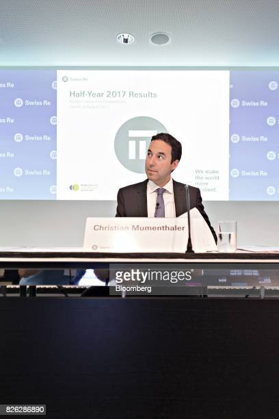 Christian Mumenthaler chief executive officer of Swiss Re AG looks on during a news conference to announce the company's firsthalf results in Zurich...