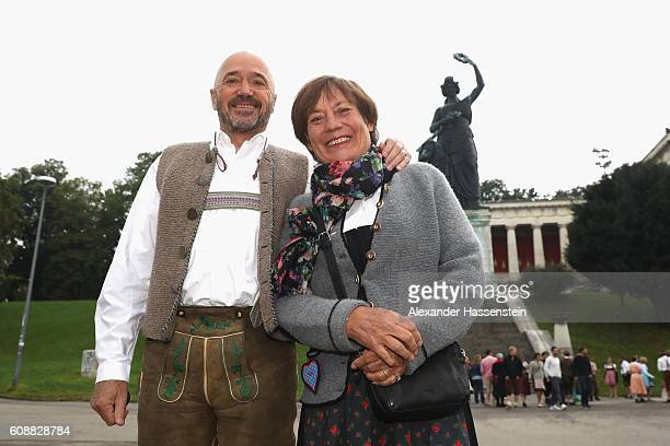 Christian Neureuther attends with Rosi Mittermaier the BMW Wiesn SportStammtisch 2016 at Kafers Wiesn Schaenke beer tent at Theresienwiese on...
