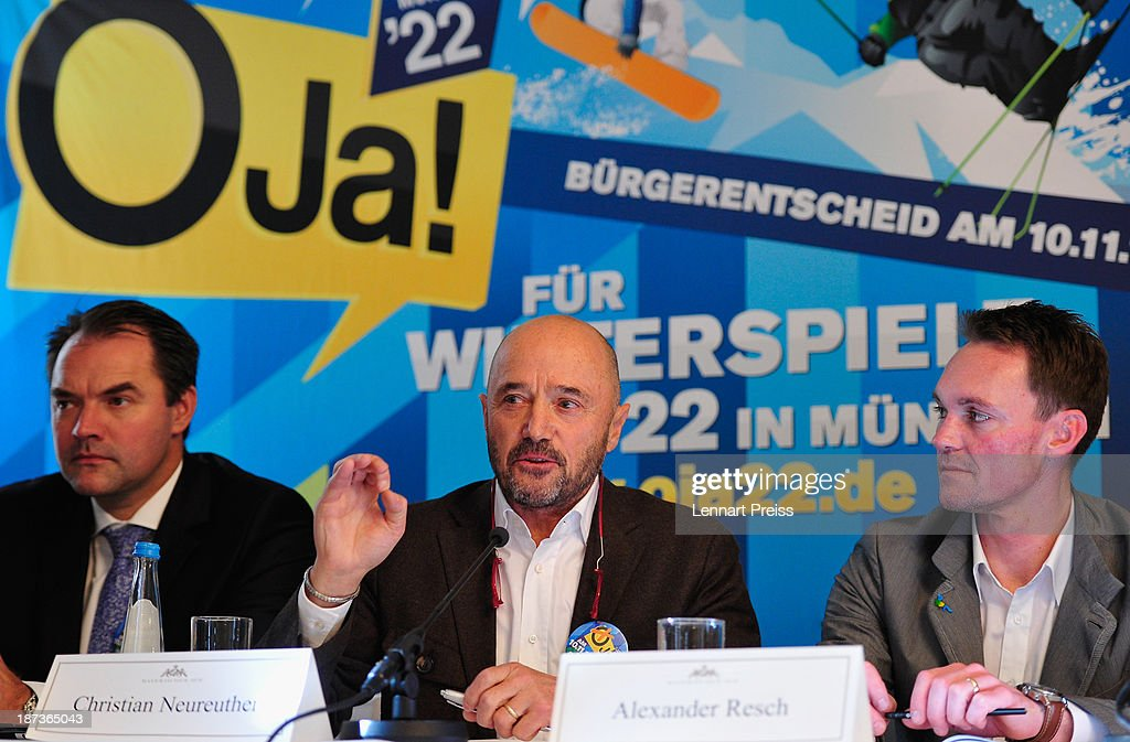 Christian Neureuther, former professional skiier (C) speaks beside Alexander Resch, Luge Olympic Champion (R) and Thomas Muderlak, speaker of the Tourism Initiative Munich during a press conference regarding the the city of Munich's application for the Winter Olympic Games 2022 on November 8, 2013 in Munich, Germany.