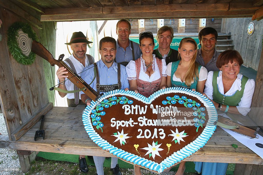 Christian Neureuther, Georg Hackl, Christof Langen, Katarina Witt, Prince Leopold von Bayern, Ingalena Heuck, Bruno Spengler and Rosi Mittermaier attend the BMW Wiesn Sport Stammtisch Oktoberfest 2013 at Kaefers Wiesn Schaenke Theresienwiese on September 24, 2013 in Munich, Germany. BMW Sports Communication has invited more than 100 international sport stars and VIPs to experience a day at the famous Munich Oktoberfest.