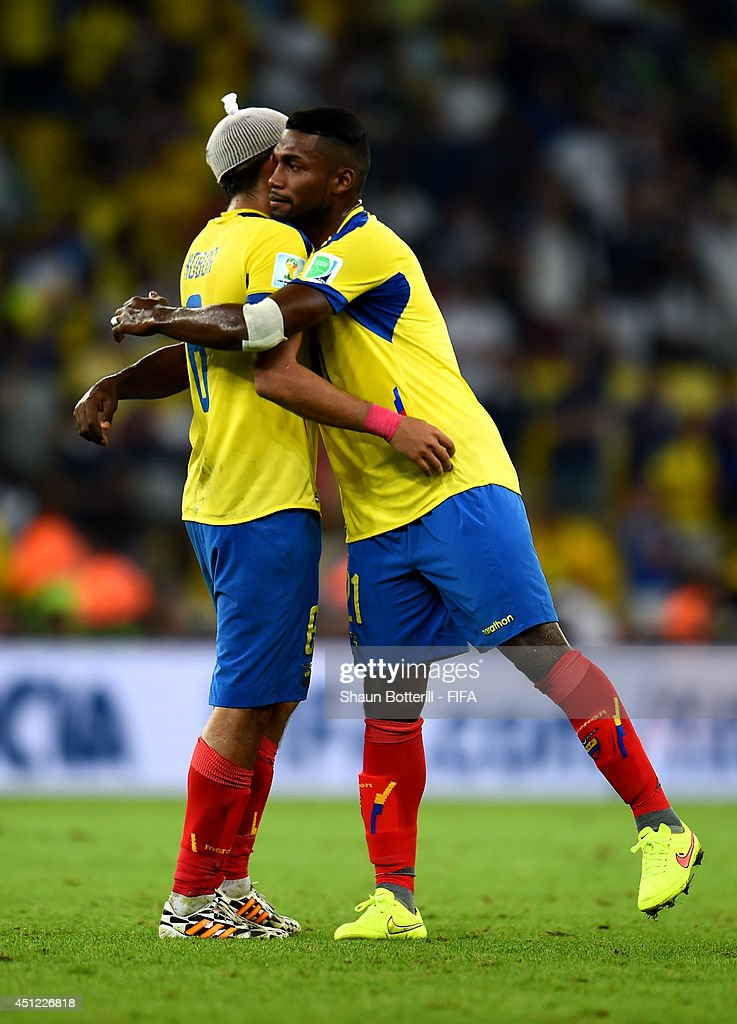 Christian Noboa (L) and Gabriel Achilier of Ecuador react after the 0-0 draw in the 2014 FIFA World Cup Brazil Group E match between Ecuador and France at Maracana on June 25, 2014 in Rio de Janeiro, Brazil.