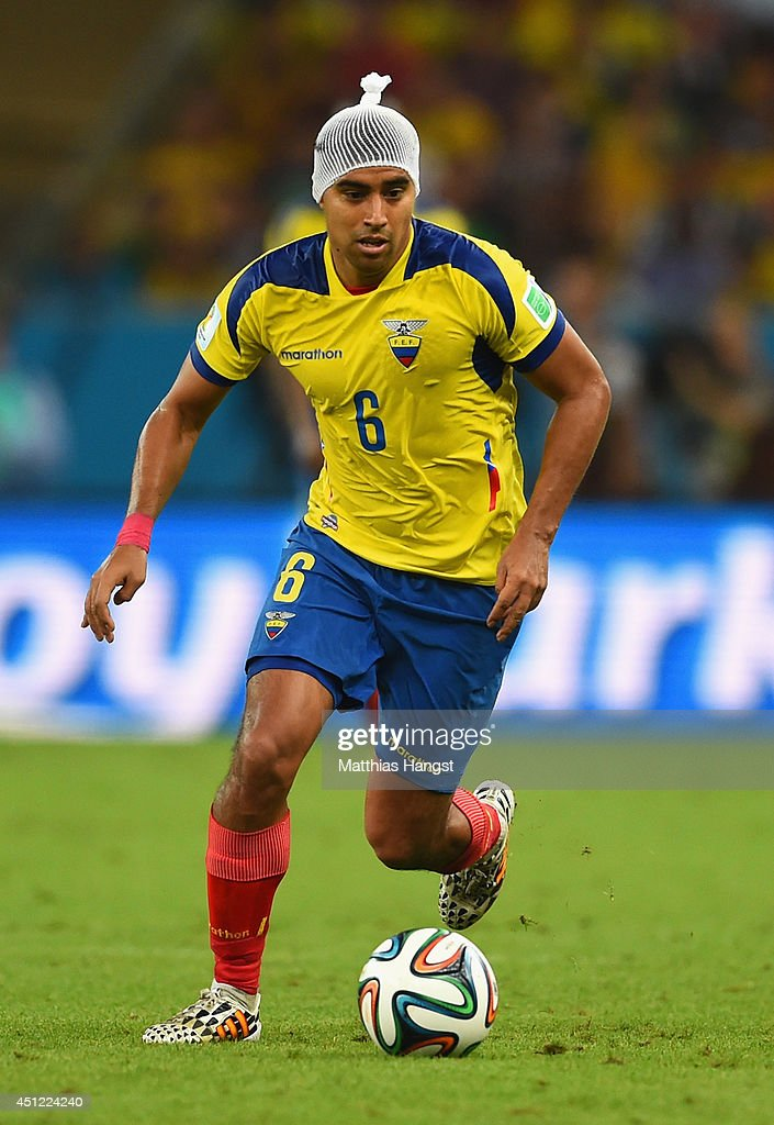 Christian Noboa of Ecuador controls the ball while wearing a head bandage during the 2014 FIFA World Cup Brazil Group E match between Ecuador and France at Maracana on June 25, 2014 in Rio de Janeiro, Brazil.