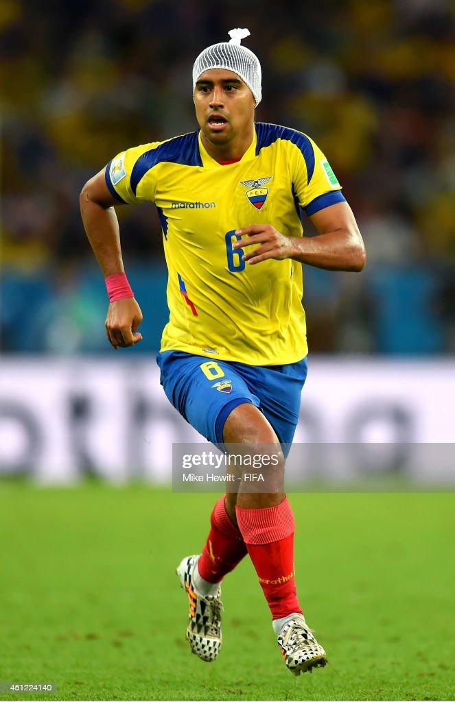 Christian Noboa of Ecuador in action wearing a bandage during the 2014 FIFA World Cup Brazil Group E match between Ecuador and France at Maracana on June 25, 2014 in Rio de Janeiro, Brazil.