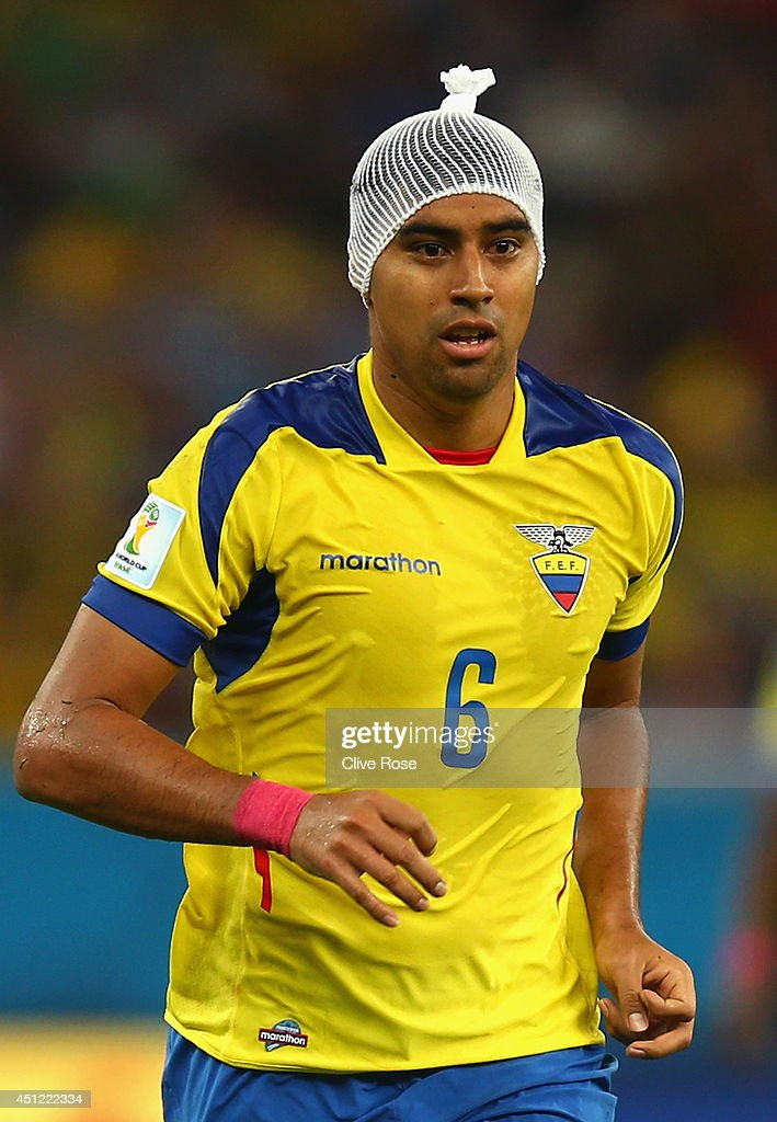 Christian Noboa of Ecuador wears a bandage on his head during the 2014 FIFA World Cup Brazil Group E match between Ecuador and France at Maracana on June 25, 2014 in Rio de Janeiro, Brazil.