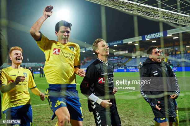 Christian Norgaard and Goalkeeper Frederik Ronnow of Brondby IF celebrate after the Danish Alka Superliga match match between Sonderjyske and Brondby...