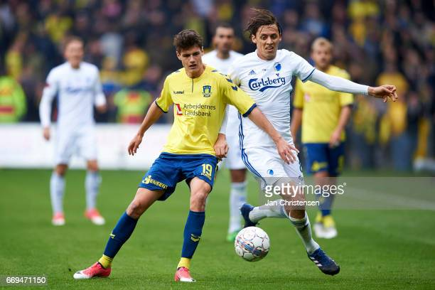 Christian Norgaard of Brondby IF and Uros Matic of FC Copenhagen compete for the ball during the Danish Alka Superliga match between Brondby IF and...