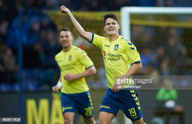 Christian Norgaard of Brondby IF celebrate after his 31 goal during the Danish Alka Superliga match between Brondby IF and FC Midtjylland at Brondby...