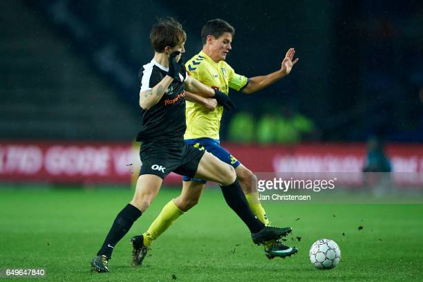 Christian Norgaard of Brondby IF compete for the ball during the Danish Cup DBU Pokalen match between BK Marienlyst and Brondby IF at Brondby Stadion...