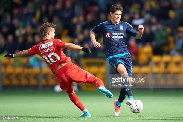 Christian Norgaard of Brondby IF compete for the ball during the Danish Alka Superliga match between FC Nordsjalland and Brondby IF at Right to Dream...