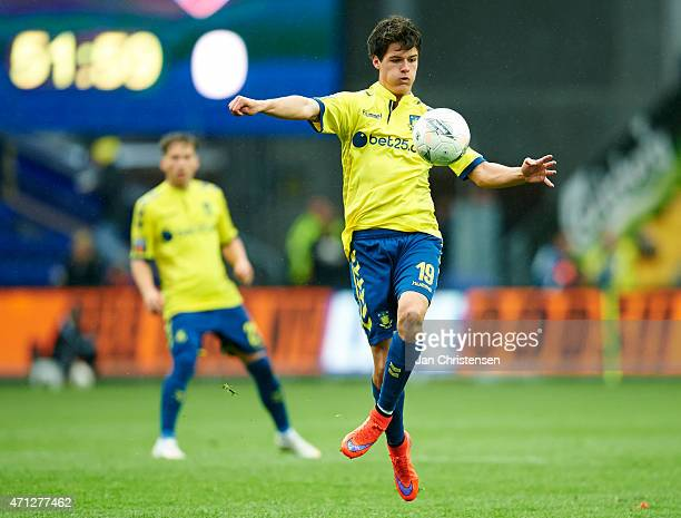 Christian Norgaard of Brondby IF controls the ball during the Danish Alka Superliga match between Brondby IF and FC Vestsjalland at Brondby Stadion...
