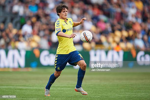 Christian Norgaard of Brondby IF controls the ball during the Danish Alka Superliga match between FC Nordsjalland and Brondby IF at Farum Park on...