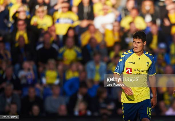 Christian Norgaard of Brondby IF looks on during the Danish Alka Superliga match between Brondby IF and FC Copenhagen at Brondby Stadion on August 6...