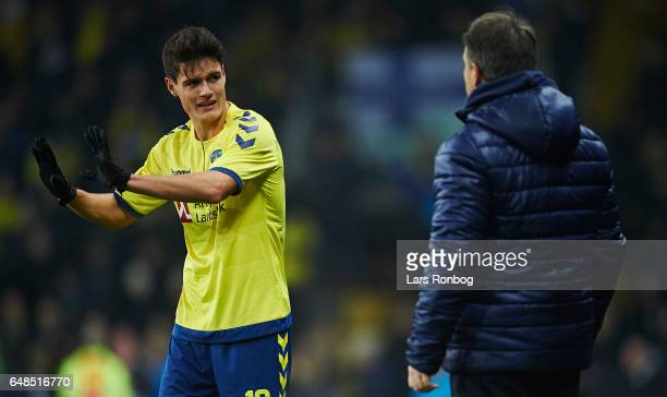 Christian Norgaard of Brondby IF speaks to Alexander Zorniger head coach of Brondby IF during the Danish Alka Superliga match between Brondby IF and...