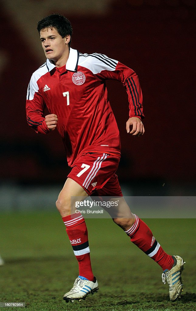 Christian Norgaard of Denmark U19 in action during the International Match between England U19 and Denmark U19 at Keepmoat Stadium on February 5, 2013 in Doncaster, England.