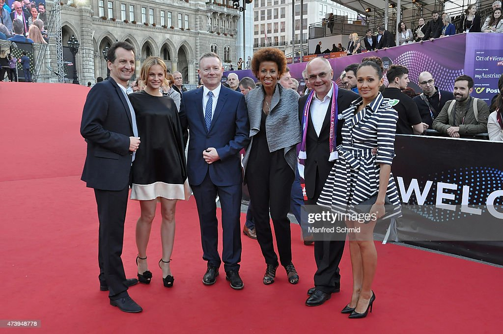 Christian Oxonitsch, Mirjam Weichselbraun, Jon Ola Sand, Arabella Kiesbauer, Edgar Boehm and Alice Tumler pose during the Eurovision Song Contest 2015 Opening Ceremony at Rathaus Wien ahead of the Eurovision Song Contest 2015 on May 17, 2015 in Vienna, Austria.