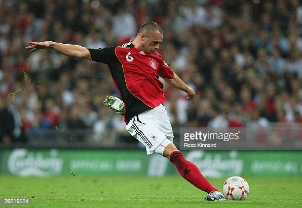 Christian Pander of Germany scores his team's second goal during the international friendly match between England and Germany at Wembley stadium on...
