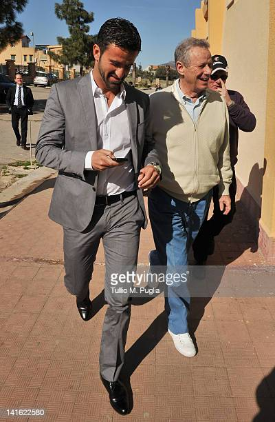 Christian Panucci and President of Palermo Maurizio Zamparini look on before his presentation as a technical director for US Citta di Palermo at...