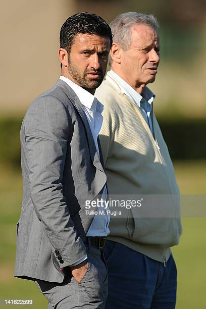 Christian Panucci and President of Palermo Maurizio Zamparini look on after his presentation as a technical director for US Citta di Palermo at...