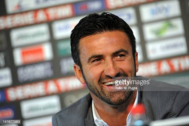 Christian Panucci answers questions during his presentation as a technical director for US Citta di Palermo at Tenente Carmelo Onorato Sports Centre...