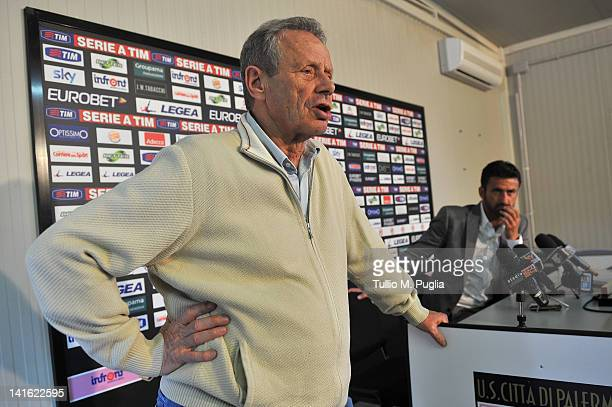 Christian Panucci looks on as President of Palermo Maurizio Zamparini answers questions during his presentation as a technical director for US Citta...