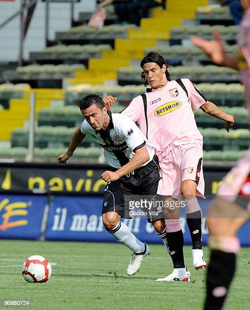 Christian Panucci of Parma and Edinson Cavani of Palermo battle for the ball during the Serie A match between Parma FC and Palermo US at Stadio Ennio...