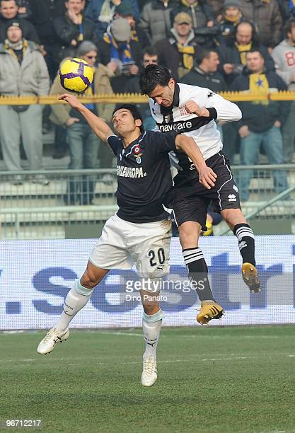 Christian Panucci of Parma competes in the air with Sergio Floccari of Lazio during the Serie A match between Parma FC and SS Lazio at Stadio Ennio...