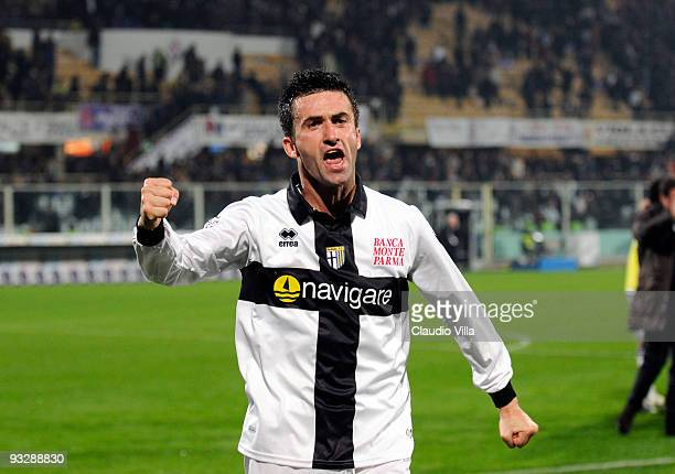 Christian Panucci of Parma FC celebrates during the Serie A match between Fiorentina and Parma at Stadio Artemio Franchi on November 21 2009 in...